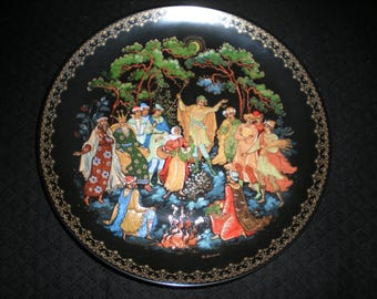 """1990 NIB Russian Palekh Lacquer Painted Limited Edition Collector's Plate """"Twelve Months"""" from Bradford Exchange"""