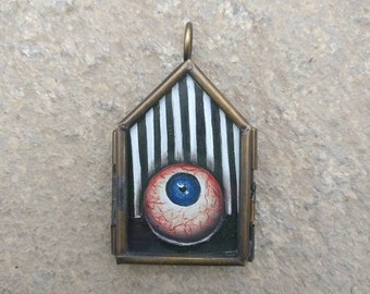 Eye See You - Locket No.1 / Glass Lockets / Hand Painted / Necklace /Eye Necklace