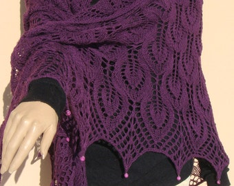 purple hand knitted shawl, Estonian lace shawl, purple lace shawl, purple wrap, shawl with beads