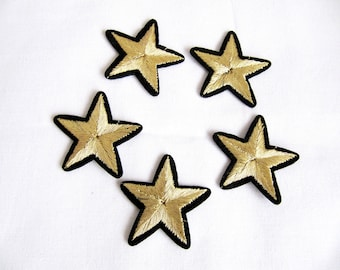 Stars aviation tag grade custom Iron On Embroidered Patches Applique Gold Star 5 Pcs.