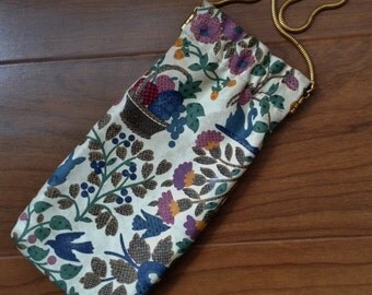 Vintage Eyeglass Sunglasses Soft Case Floral with Gold Chain