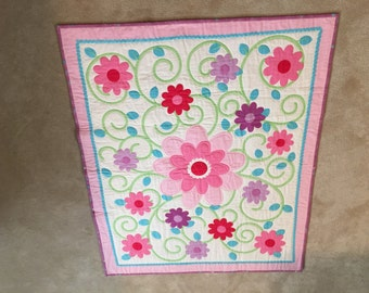 Flower Shower wall hanging or quilt  42x36