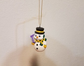 Ceramic Snowman with carrot nose Ornament (#855A)- Holding Present
