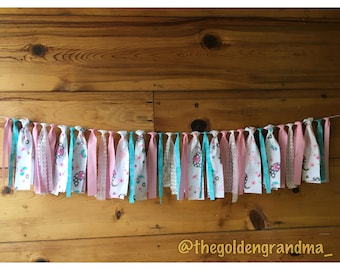 Teal and Pink Giraffes and Elephants fabric garland