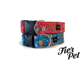 top of the line , exclusif line dog collar, design in canada ,Designer dog collar, choose your fabric, collar,adjustable collar,fier-pet