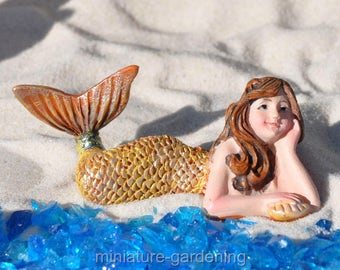 Day Dreaming Mermaid for Miniature Garden, Fairy Garden