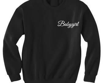 Babyygirl Pocket Sweatshirt Black or Gray Teen Trending Instagram Baby girl