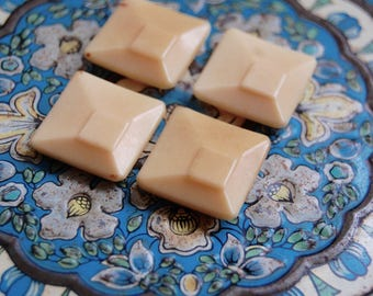 1930's Art Deco Vintage Cream Offset Square Vegetable Ivory Button Set