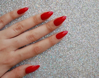 Bright Red Full Cover False Nails -Set of 20- stiletto nails, fake nails, red nails, square nails, matte nails, false nails, press on nails