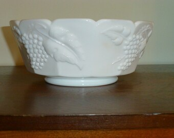 Milk Glass Bowl with Grape Pattern