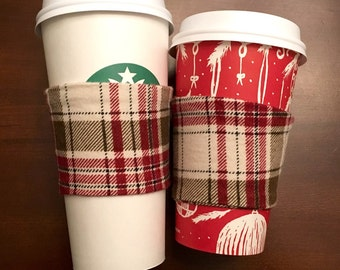 Flannel Coffee Cozy - red and white plaid