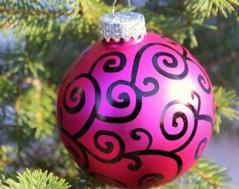 Glass Hand Doodled Ornament, magenta, ladybug