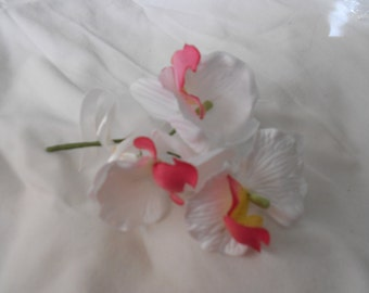 Set of 6 deep white triple orquids with coral center  boutonniers or corsages