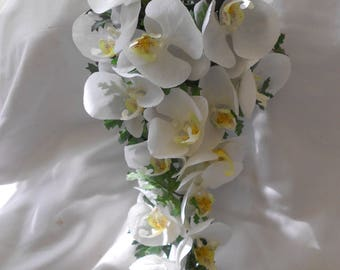 All white orchids bridal cascade bouquet 2 pieces