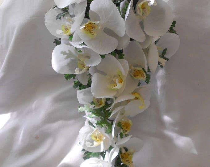 All white orchids bridal cascade bouquet 2 pieces