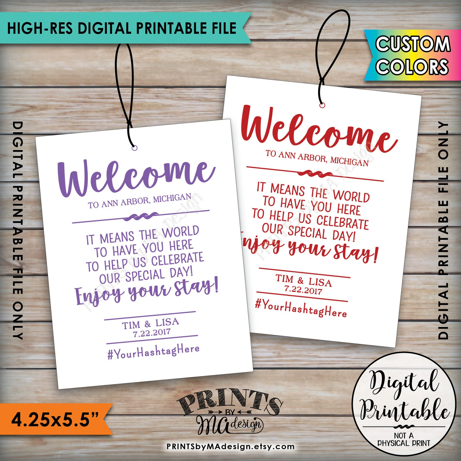 Wedding Welcome Bag Tags Hotel Labels Out Of Town Destination Thank You Hashtag Color 425x55 Per PRINTABLE 85x11