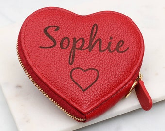 Valentine's Personalised Luxury Leather Heart Purse (HBL18)
