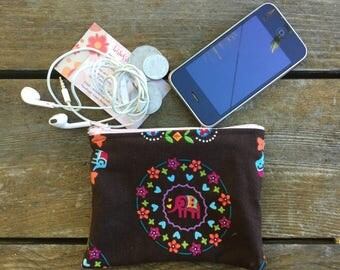 Handmade in Australian Indie Elephant & Flowers Coin  purse , makeup bag , mobile holder , opal card holder , bag organisers.