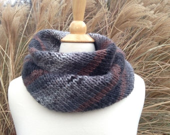 Silver and Stone - Chunky Knit Scarf - Allergy-free Acrylic - Circular Infinity Scarf - Ombre