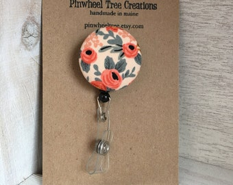 Rifle Paper Co. Floral Badge Reel,  Retractable Badge Holder, Coral Peach Roses Fabric Swivel ID Name Holder, Student Nurse Teacher Gift