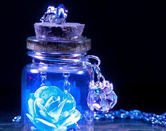 Handmade Glass Bottle Necklace Boutique Glow in the dark Fluorescent Flower Pendant