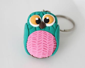 Green and pink Owl keychain