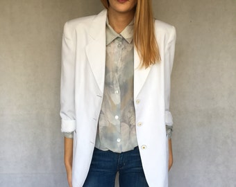 90s Vintage White Women's Blazer