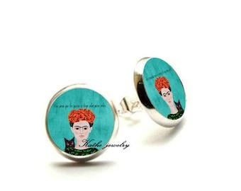 Frida Kahlo Earrings, Frida Kahlo Jewelry, Frida stud, Frida With Black Cat, Frida Kahlo Gift Hypoallergenic Earrings for Sensitive Ears