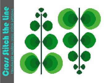 Fun retro fern cross stitch pattern. Mid Century modern design. Contemporary cross stitch pattern.
