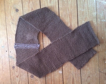 Wool scarf brown with mauve stripe