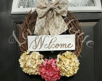 Grapevine wreath, Hydrangea wreath, Rustic wreath, Front door decor, Spring wreath, Year round wreath, Summer wreath, Fall wreath