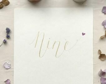Wedding Table number card, Handmade wedding card, Wedding Table Numbers, vintage wedding, calligraphy, invitation, Place Card, Lavender