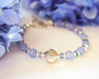 Blue Chalcedony and Kyanite Beaded Bracelet with Thai Hilltribe Silver Beads and Clasp