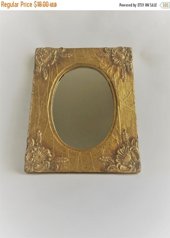 On sale vintage gold framed mirror ornate by for Small gold framed mirrors