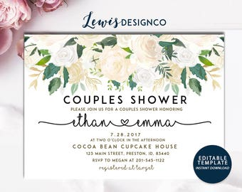 Couples Shower Invite, Floral Bridal Shower Invitation, Wedding Shower Card,  Editable Card Print Yourself Instant Download, Winter Invite