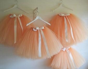 Girls tutu, Long/Calf length peach flower girl tutu skirt, tutu dress, tea length party girls tutu skirt, flower girl dress