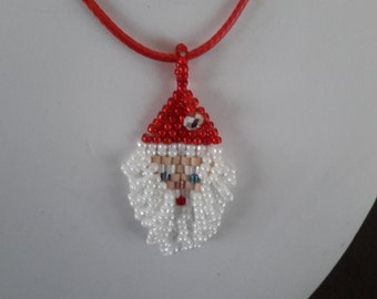 Beaded Santa Claus pendent or pin