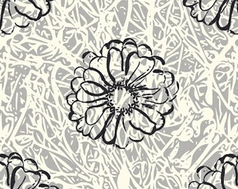 Windham Fabrics - Hand Maker Bramble Fog 42008-4 / Gray, White, and Black Modern Floral Pattern