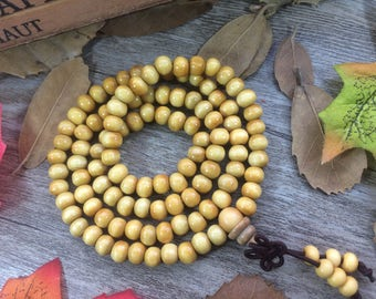 10 Strands X 108pc 6MM Light Yellow Wood Beads Meditation Buddhist Japa Mala Bracelet