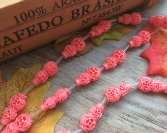 "1 Strand  Pink15"" Plastic Carved Gourdl Shape Spacer Charms Loose Beads DIY Supplier For Handcarfts Bracelets"