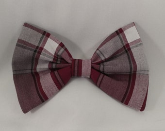 Maroon Plaid School Uniform Hair Bow