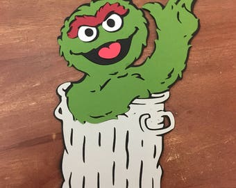 Oscar the Grouch die cut from Sesame Street