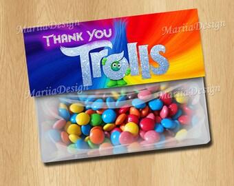 Trolls goody bag topper, Trolls Bag Toppers, Trolls Goody bags, Trolls decoration - ONLY FILES