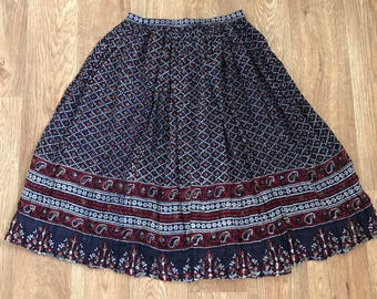 Vintage 70s Indian gauze skirt navy/red gold Small, petite fit