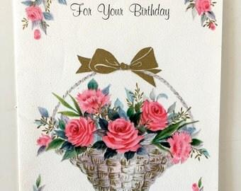 Vintage 1950s Floral Birthday Card Vintage Old Birthday Card