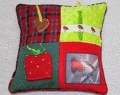 Fidget Cushion ~ Sensory Activity Pillow ~ Dementia Twiddle Cushion ~ Alzheimer Gift ~ Busy Cushion ~ 'The Robins Return'