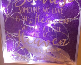 because someone we love is in heaven light up box frame photo glitter