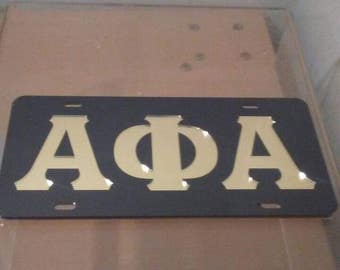 Alpha Phi Alpha -  Mirror Colered License Plate