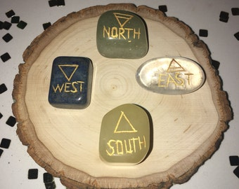 Item 8, Compass, Direction, North, South, East, West, Chakras, Reiki Stones