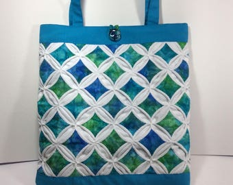 Cathedral Windows Quilted Bag Blue/Green